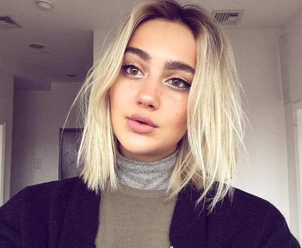 Choppy Blonde Blunt Lob with Dark Roots                                                                                                                                                                                 More