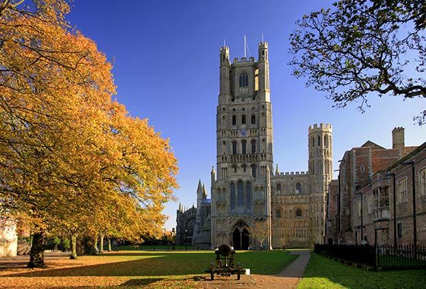 things to do in ely A Russian canon sits in front of the west elevation of Ely Cathedral, also known as the Ship of the Fens for its distant views over the Fens from its towers, at Ely City in Cambridgeshire.