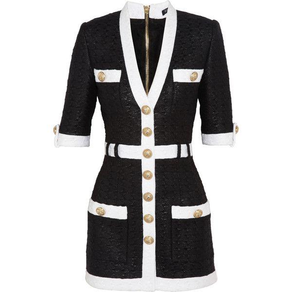Balmain Coated tweed mini dress (€2.345) ❤ liked on Polyvore featuring dresses, balmain, coats, short dresses, haljine, black, mini, mini dress, balmain dress and shoulder pad dress