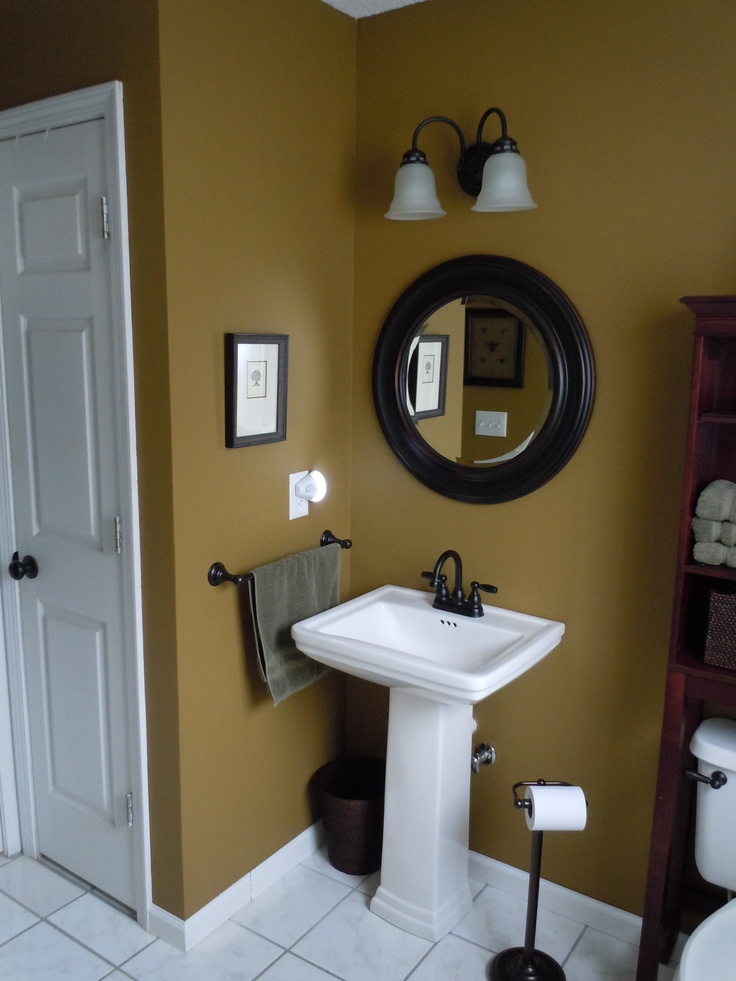 bath remodel with behr wool tweed paint target round mirror and fixtures from lowes - Bathroom Accessories Lowes