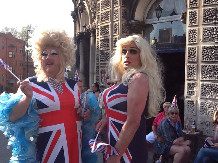 """traylor trash"" and friend at Old Market, Bristol waiting for Olympic Flame to pass. May 2012"