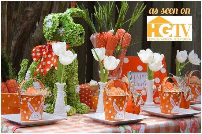 love the carrot centerpiece: Easter Parties, Tables Sets, Idea, Easter Centerpieces, Dogs, Easter Tablescapes, Carrots, Polkadots, Polka Dots Theme