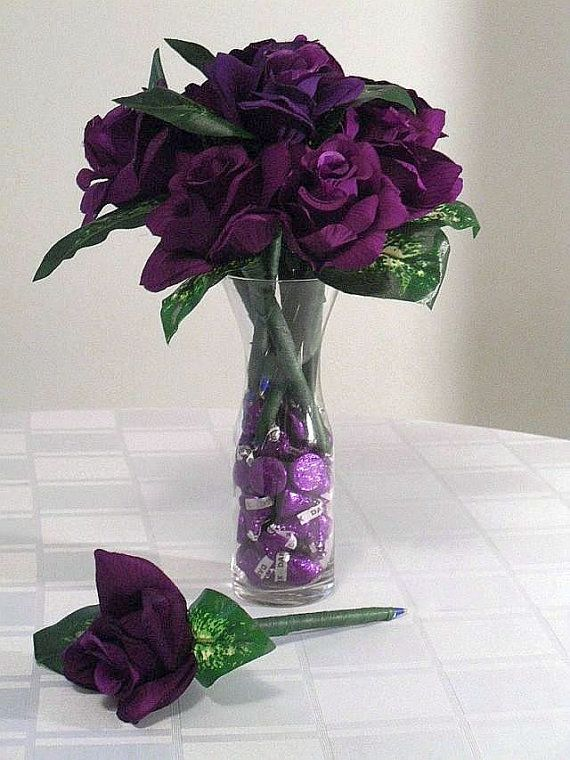 Roses And Kisses, Hersheys Chocolate Kisses//SILK FLOWER PENS Bouquet//Flowers And Candy//Purple Wrapped Chocolate Kisses