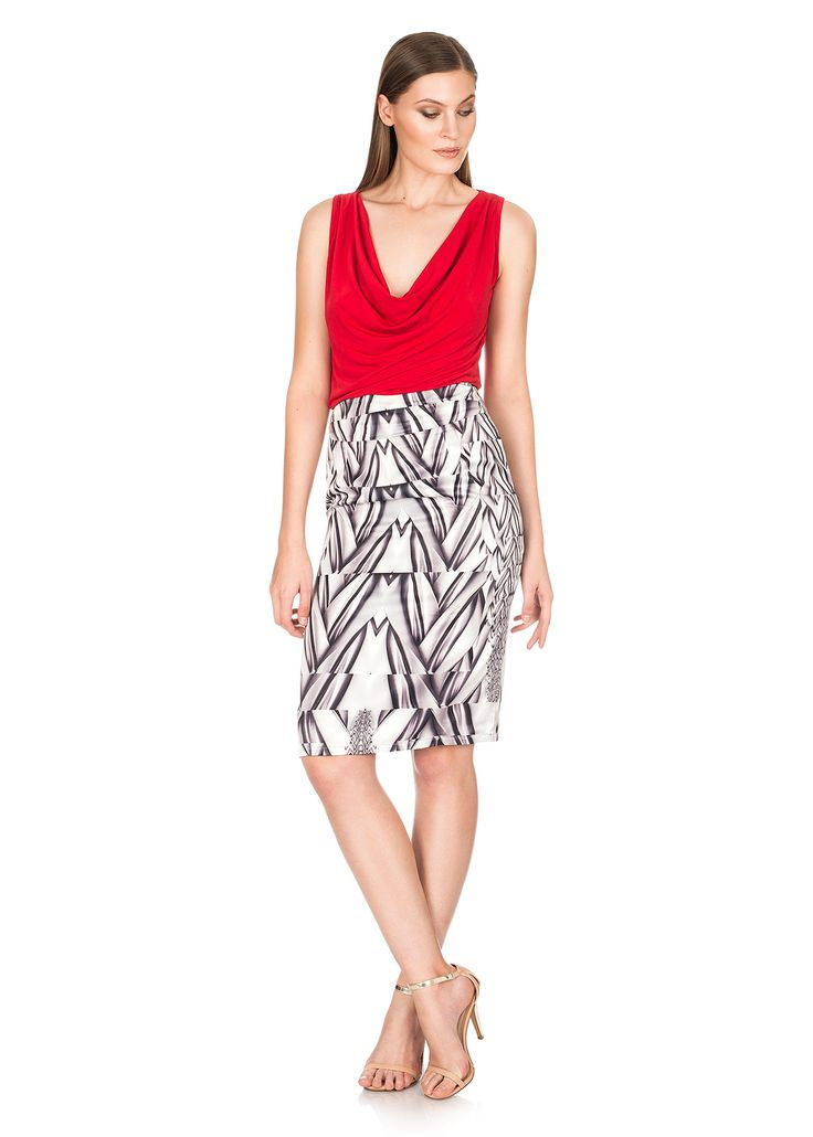 Lucia Red Cowlneck Top / Bianca Silver & White Silk Pencil Skirt - Shop now - http://shop.mylookinstyle.com/lucia-bianca-look-red/