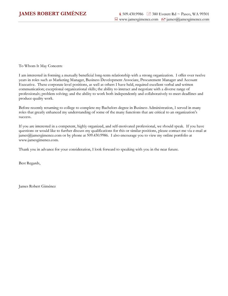 resume cover letter examples general