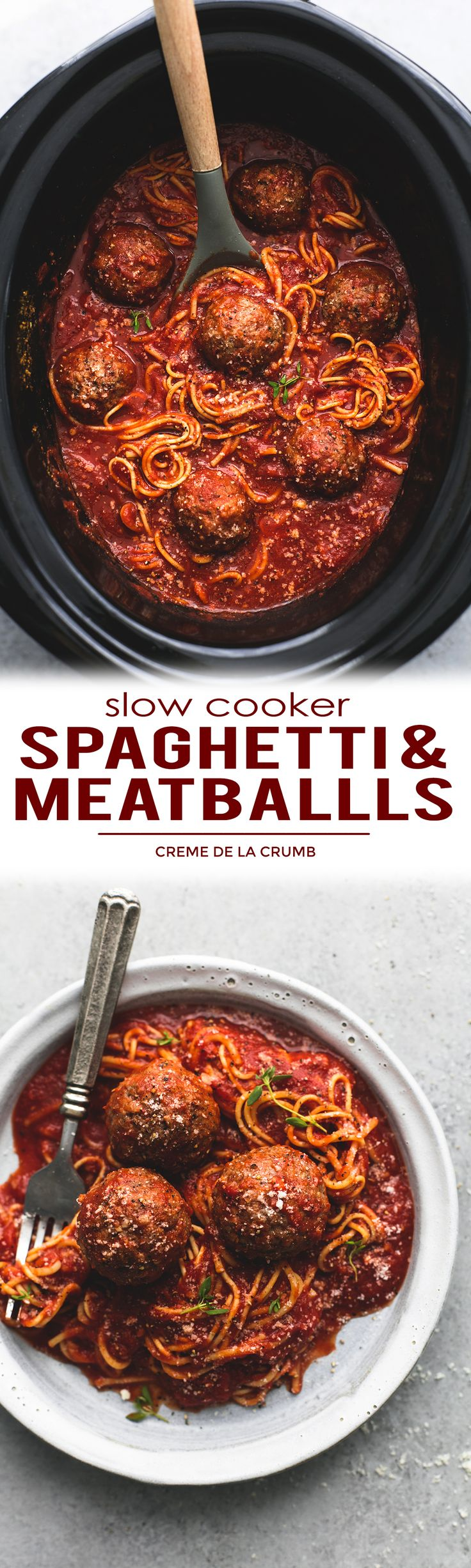 Easy Slow Cooker Spaghetti And Meatballs - everything is made in the crockpot, even the noodles! | lecremedelacrumb.com