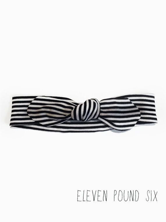 Basic black and white stripe bow knot topknot headband