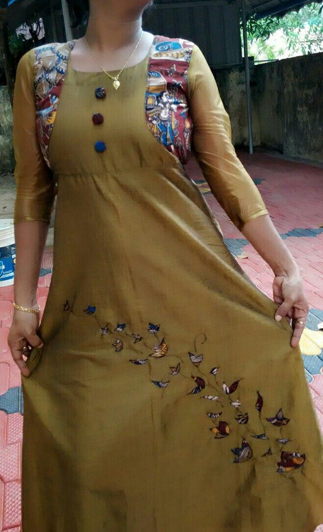 Maxi dress with kalamkari applique work