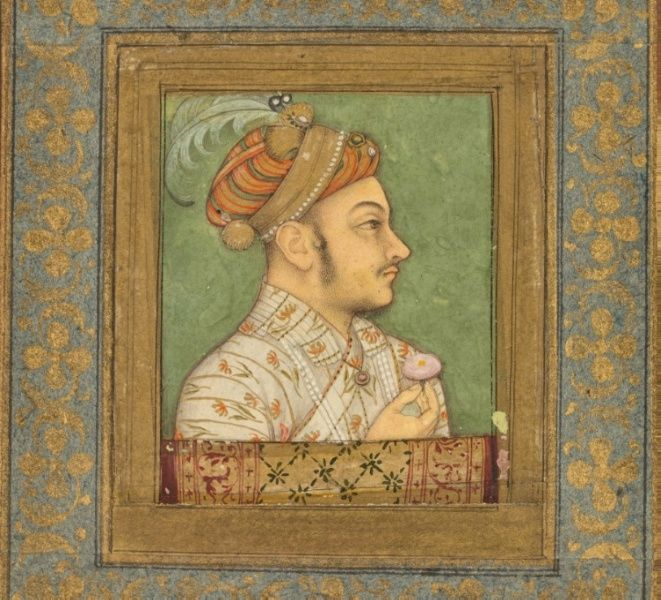 A Portrait of Murad Baksh, c. 1640  attributed to Balchand (Indian)  opaque watercolor on paper, Page - h:28.50 w:26.00 cm (h:11 3/16 w:10 3/16 inches) Miniature - h:5.60 w:4.80 cm (h:2 3/16 w:1 7/8 inches).