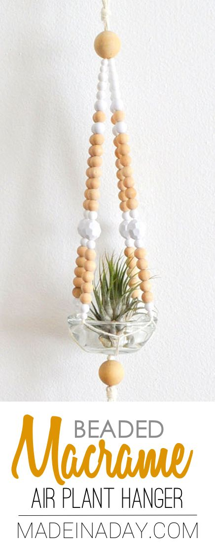 Easy Beaded Macrame Plant Hanger, Super easy way to display your cute air plants! simple macrame, beaded plant hanger, boho, air plant via @madeinaday