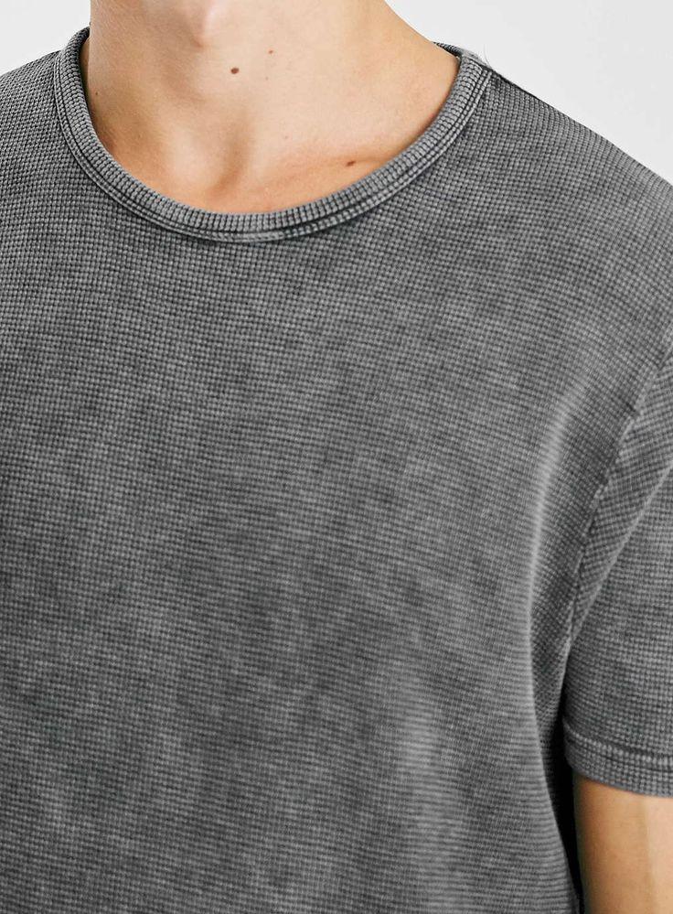 Photo 4 of Grey Acid Wash Waffle T-Shirt