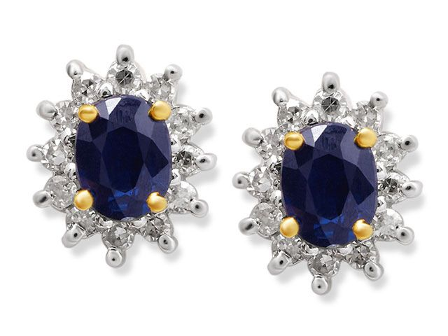 9ct Gold Diamond And Sapphire Earrings  12pts per pair - F.Hinds