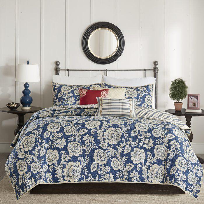 Cheshire Reversible Floral Cotton Blend 6 Piece Coverlet Set Comforter Sets Duvet Cover Sets Duvet Sets