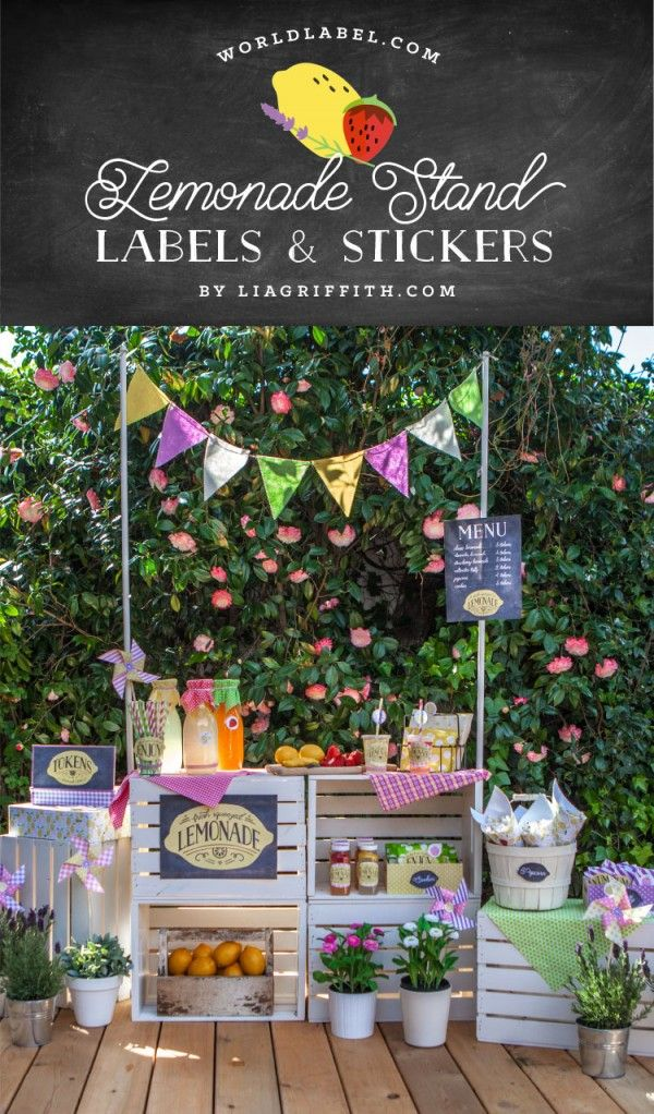 Adorable Lemonade Stand Party Label Set by Lia Griffith