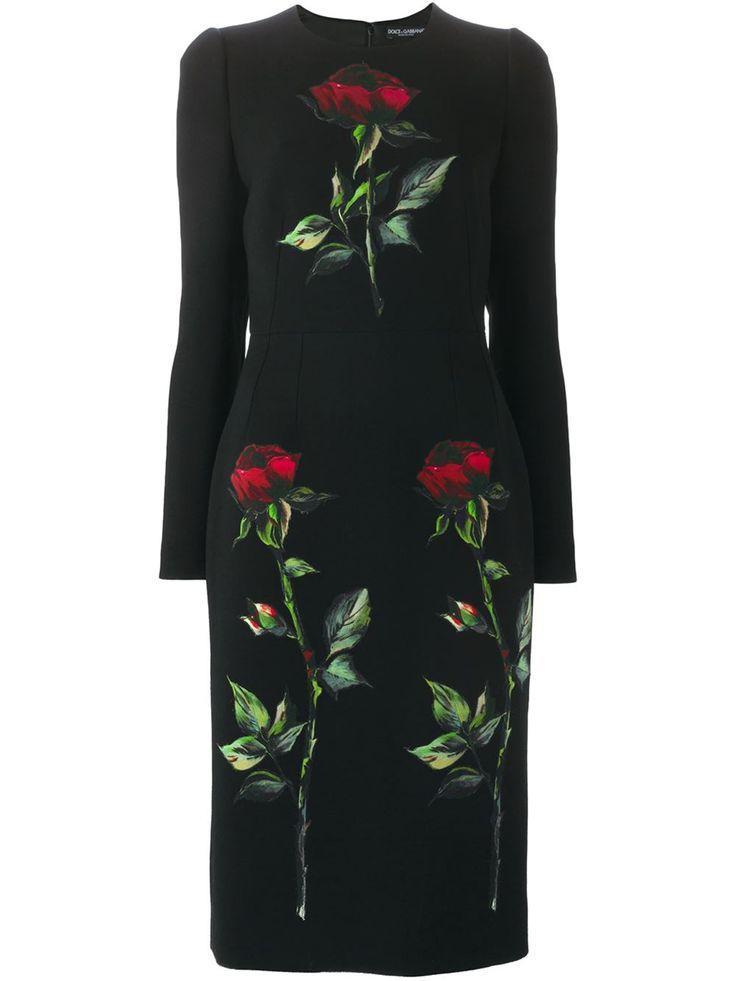 Dolce & Gabbana Облегающее Платье С Вышивкой Роз - Profile - Farfetch.com