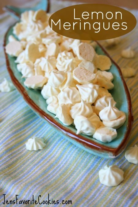 Lemon Mini-Meringues...3 egg whites, 3/4c sugar, salt, crm of tartar, zest of 1 lemon, 2-4 drops yellow food coloring.