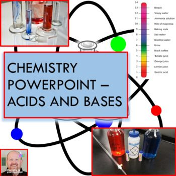 COMPLETELY EDITABLE! This 52 slide PowerPoint presentation covers, in detail, all of the following topics: - General properties of acids and bases - Common acids and bases - Uses of common acids and bases - Arrhenius, Bronsted-Lowry, and Lewis acid and base definitions, examples, and reactions of each - Conjugate acid-base pairs - How water