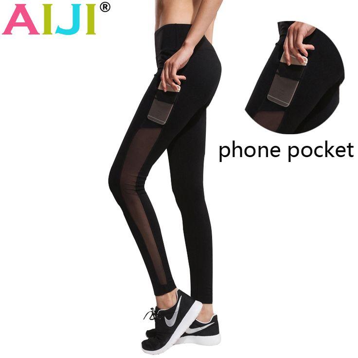Tasche del telefono in esecuzione collant maglia yoga pant women yoga leggings fitness jogging palestra vestiti di yoga pantaloni elastici atletica legging