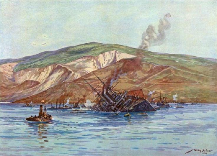 Willy Stöwer - Vernichtung des englischen Linienschiffes H.M.S. Triumph durch U 21 bei den Dardanellen
