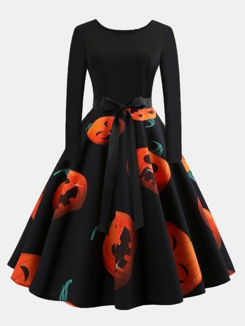 738faa2048 Vintage Print Patchwork Round Collar Long Sleeves Wide Dress ...