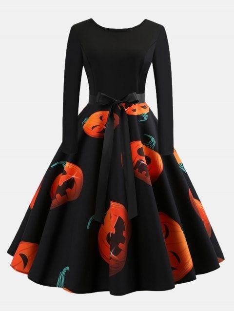 789fcb611b Vintage Print Patchwork Round Collar Long Sleeves Wide Dress ...