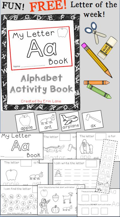 FREE Letter A Alphabet Activity Book! A FUN, hands-on way to learn letters A-Z!