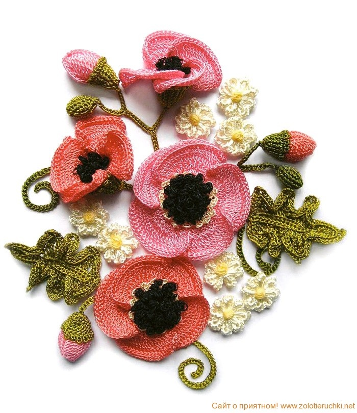 Bouquet of crocheted poppies... with description and detail ... for decoration ... @Afshan Sayyed Sayyed Sayyed Sayyed Sayyed Shahid.