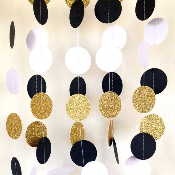 Great Gatsby Themed Wedding Garland, Paper Garland Black and White Bridal Shower, Baby Shower, Birthday Party, Party Decor, Gold Glitter