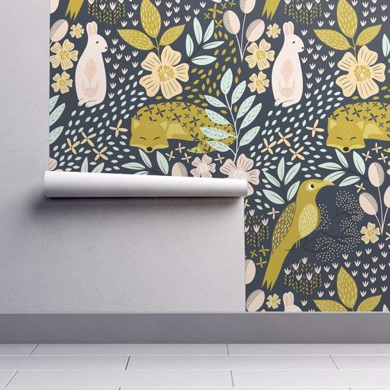 Animals Wallpaper Woodland Flora By Melarmstrongdesign Nursery Fox Bunny Bird Printed Removable Self Adhesive Wallpaper Roll Spoonflower In 2021 Self Adhesive Wallpaper Spoonflower Wallpaper Wallpaper Roll