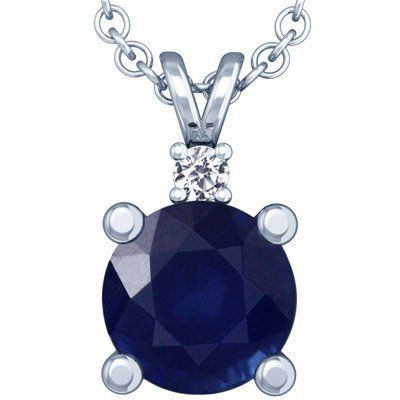 Platinum Round Cut Blue Sapphire And Round Diamond Pendant GemsNY. $1436.00