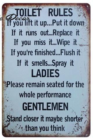 Bathroom Rules Metal Sign