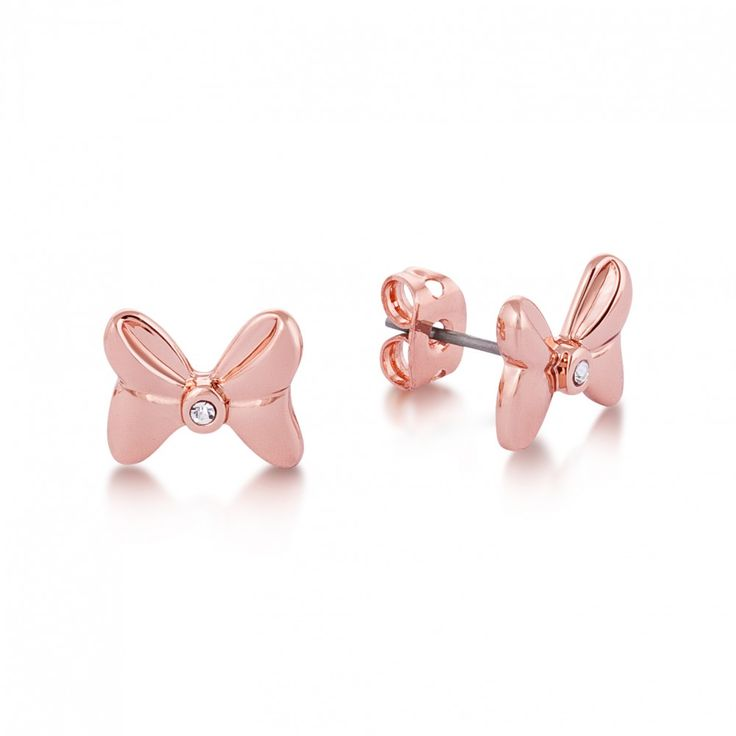 Disney Couture Minnie Mouse Rocks Rose Gold-Plated Crystal Bow Stud Earrings