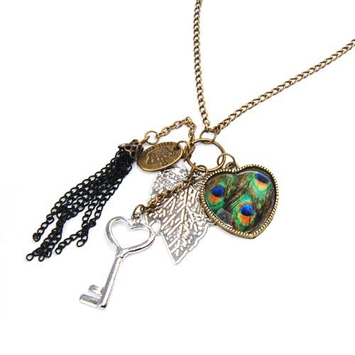 Retro Tassel Peacock Feather Pattern Heart Key Leaf Multi Pendant Necklace