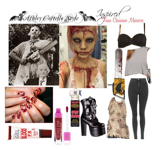 """""""Ash Costello Texas Chainsaw Massacre Leatherface Costume"""" by katiehorror ❤ liked on Polyvore featuring Topshop, Tobi, Jeffree Star and Demonia"""