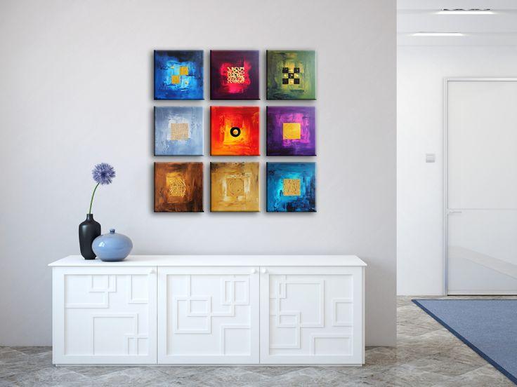 Een trendy schilderij bestaat ook wel eens uit meerdere delen dit kunstwerk bestaat zelfs uit - Trendy kamer schilderij ...