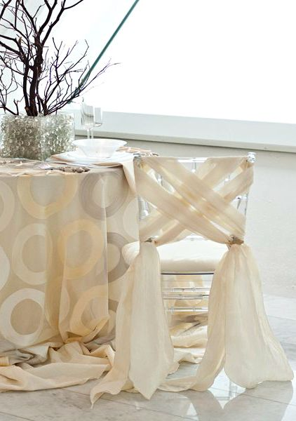 Tablescape ● Chair Decor # Neutral Wedding ... Wedding ideas for brides, grooms, parents & planners ... https://itunes.apple.com/us/app/the-gold-wedding-planner/id498112599?ls=1=8 … plus how to organise an entire wedding ♥ The Gold Wedding Planner iPhone App ♥