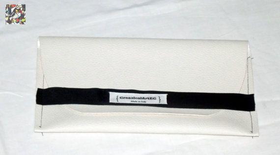Faux leather clutch handmade white green fashion di CreazioniArtEC