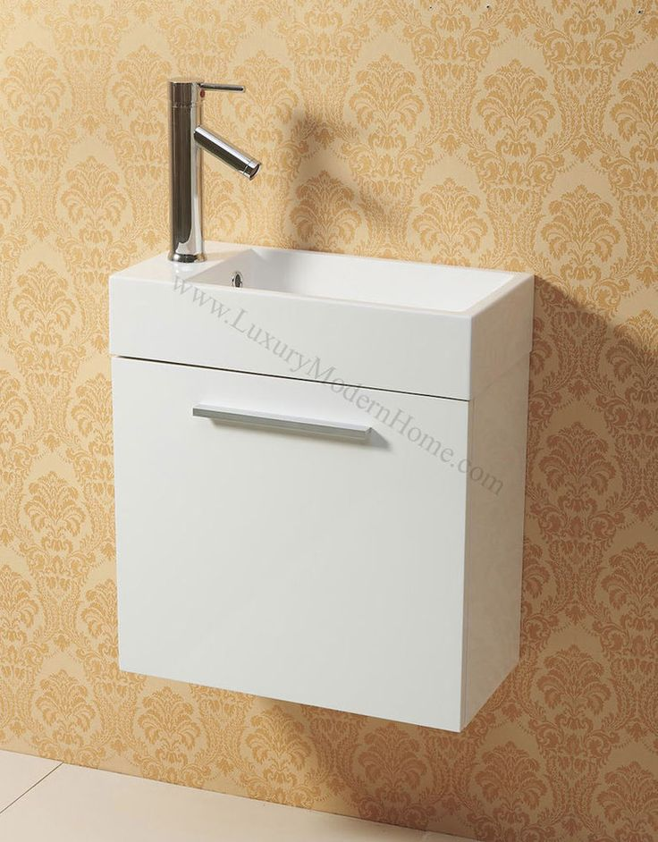 "Vanity Sink 20"" small narrow short WHITE modern bathroom cabinet wall hung mount #wwwLuxuryModernHomecom"