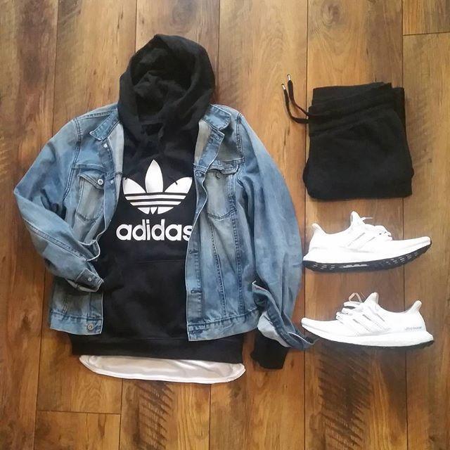Outfit grid - Hoodie & denim jacket