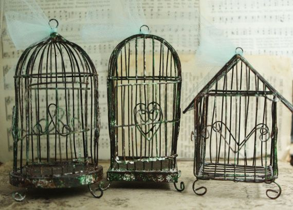 House Style Weathered Wire Bird Cage – Holiday Ornament Bird Cage – Christmas Decoration DIY Birdcage Ornament – Wedding Table Decoration