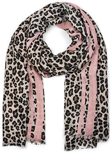 c1ab2545e8b7d styleBREAKER Châle pour femme avec motif léopard rayures colorées et  franges écharpe d'hiver étole