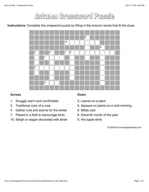 Autumn/Fall crossword puzzle that changes each time you visit