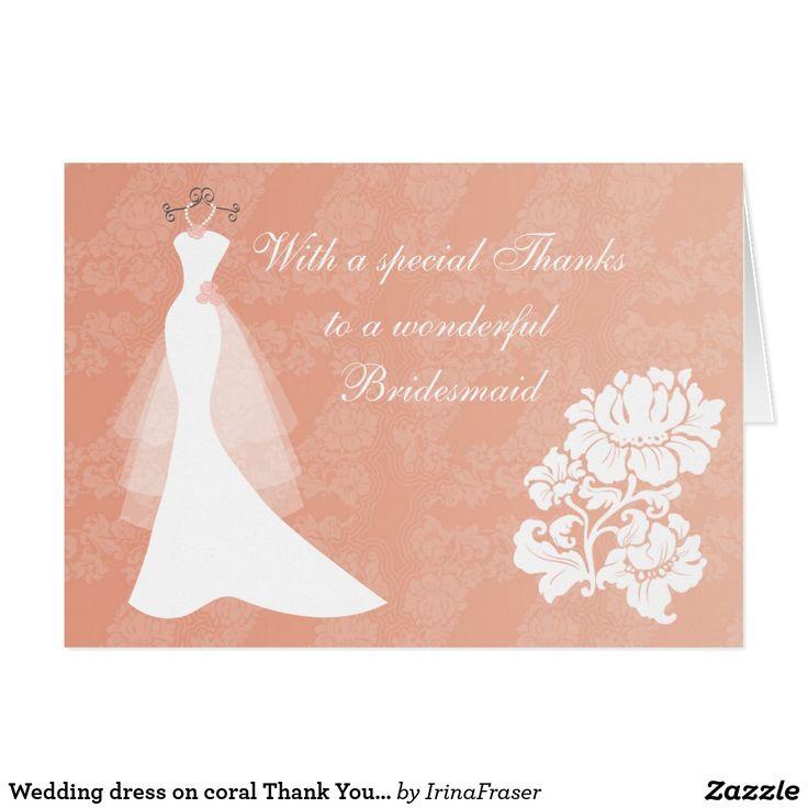 zazzle wedding invitations promo code%0A Wedding dress on coral Thank You Bridesmaid card