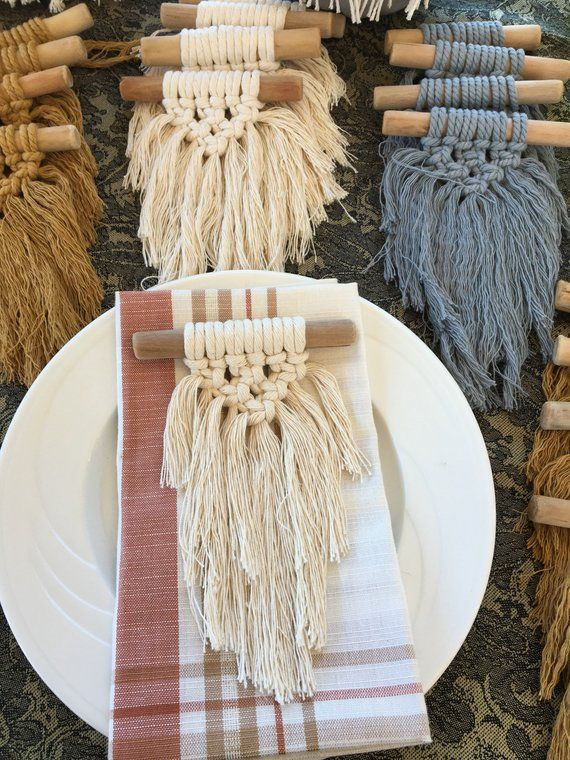 Set of 4 Macrame Bohemian Napkin Holders, Rings