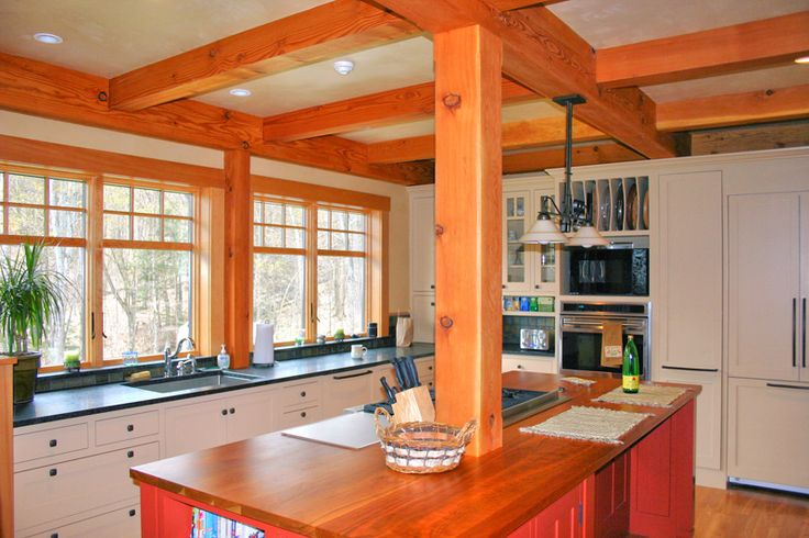 Post and beam kitchen with center island kitchen islands - Kitchen island with post ...