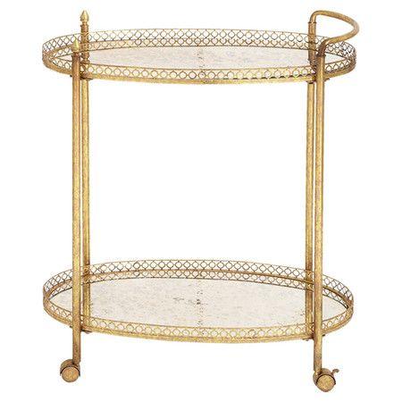 gold & glass tea cart