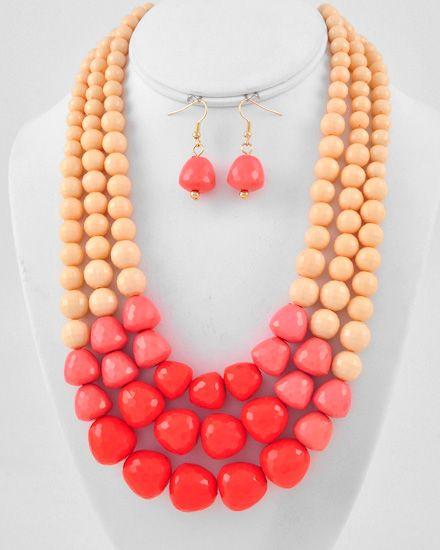 Gold Tone / Peach & Coral Acrylic / Lead Compliant / Graduating / Multi Row Necklace & Fish Hook Earring Set