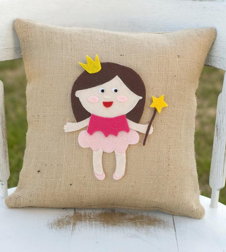 Pretty in Pink- Decorative Felt Princess Burlap Pillow 14x14. $28,99, via Etsy.