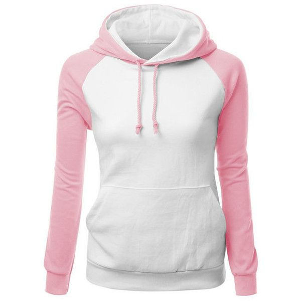 Drawstring Kangaroo Pocket Color Block Hoodie (£14) ❤ liked on Polyvore featuring tops, hoodies, long white top, white hooded sweatshirt, drawstring hoodie, color block hoodie and hooded pullover
