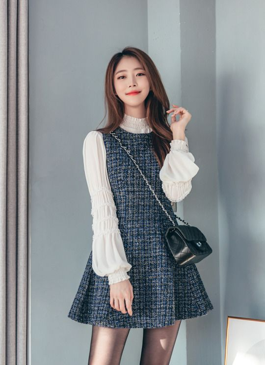 Shirred Trims Chiffon Blouse Korean Fashion Pinterest